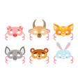 animals carnival masks set pig hen goat fox vector image vector image