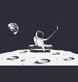 astronaut make selfie on moon vector image vector image