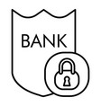 bank security thin line icon shield and lock vector image