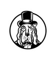 basset hound wearing monocle and top hat circle vector image vector image