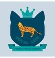 Bengal cat flat badge vector image