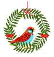 bird with rowan berries wreath vector image