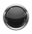 black button with chrome frame round glass shiny vector image vector image