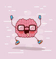 brain cartoon with glasses and happy in background vector image vector image