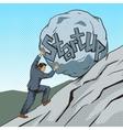 Businessman pushing a stone uphill pop art vector image