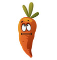 carrot thinking on white background vector image vector image