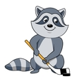 Cartoon raccoon with hockey stick and puck vector image vector image