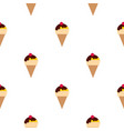 chocolate ice cream with cherry pattern seamless vector image vector image