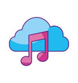 cloud computing with music note isolated icon vector image vector image
