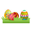 colored easter eggs on the grass vector image vector image