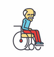 elder man in wheelchair concept line icon vector image