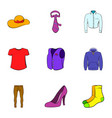 fashion clothes icons set cartoon style vector image vector image