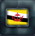 flag of brunei on metalic frame vector image vector image