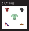 flat icon garment set of uniform heeled shoe vector image vector image