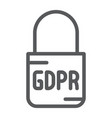 gdpr lock line icon access and secure padlock vector image vector image
