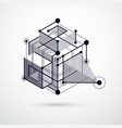 geometric technology black and white drawing 3d vector image