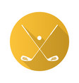 golf ball and clubs flat design long shadow icon vector image