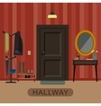 Hallway interior with door vector image
