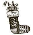 Hand drawn Christmas sock with gifts vector image vector image