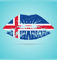 iceland flag lipstick on the lips isolated on a vector image vector image