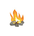 icon flame a fire on wood lined with vector image vector image