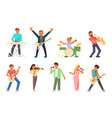 musicians and singers flat icon set vector image