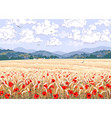 nature scene with ripe wheat field and red poppy vector image