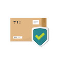 parcel box protected with shield symbol vector image vector image