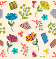 pattern with paper flowers vector image vector image