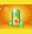 peach juice can advertising package design vector image vector image