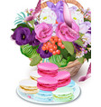 realistic floral bouquet and macarons vector image vector image