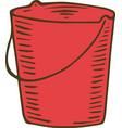 red garden bucket vector image