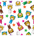 seamless pattern cartoon hand drawn doodles girl vector image