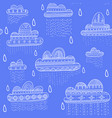 seamless pattern with rainy clouds in boho style vector image vector image