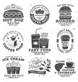 set coffee and fast food retro badge vector image