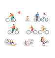 set different cyclist vector image vector image