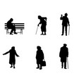 silhouettes of older people vector image vector image