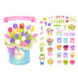 Spring bouquet poster set vector image