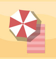 top view of towel and umbrella on sand for summer vector image vector image