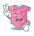 two finger cartoon baby clothes on hanger rack vector image