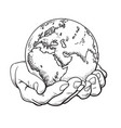 two palms hold globe environment concept vector image