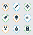 warfare icons set with poison medal rocket and vector image vector image