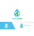 water drop and earth logo combination vector image vector image