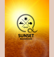 yellow sunset with brown water sea surface vector image vector image
