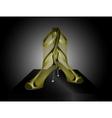 Golden Sandals with High Heels vector image