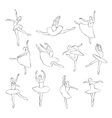 Set of ballet dancers silhouettes vector image