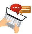 person user laptop social media chat talk vector image
