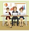 Happy business people sitting with their laptops vector image