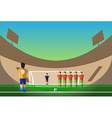 Soccer penalty on football stadium vector image