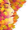 Backround with womans face and autumn leaves vector image